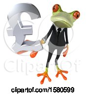 3d Green Business Frog Holding A Pound Currency Symbol On A White Background