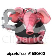 3d Pink Business Elephant Holding A Pound Currency Symbol On A White Background