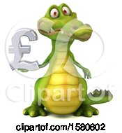 3d Crocodile Holding A Pound Currency Symbol On A White Background