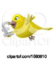 Poster, Art Print Of 3d Yellow Bird Holding A Pound Currency Symbol On A White Background