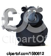 Clipart Of A 3d Black Bull Holding A Pound Currency Symbol On A White Background Royalty Free Illustration by Julos