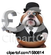 Poster, Art Print Of 3d Gentleman Or Business Bulldog Holding A Pound Currency Symbol On A White Background