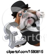 3d Gentleman Or Business Bulldog Holding A Pound Currency Symbol On A White Background