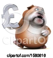 3d Bulldog Holding A Pound Currency Symbol On A White Background