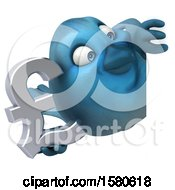 Poster, Art Print Of 3d Blue Bird Holding A Pound Currency Symbol On A White Background