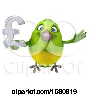 Poster, Art Print Of 3d Green Bird Holding A Pound Currency Symbol On A White Background
