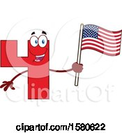 Poster, Art Print Of Red Number Four Mascot Character Holding An American Flag