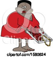 Clipart Of A Black Woman Going Through Airport TSA Security Royalty Free Vector Illustration