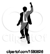 Silhouetted Business Man Cheering With A Reflection Or Shadow On A White Background