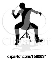 Clipart Of A Silhouetted Male Drummer With A Reflection Or Shadow On A White Background Royalty Free Vector Illustration by AtStockIllustration