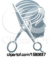 Clipart Of A Womans Head In Profile With Scissors Royalty Free Vector Illustration