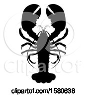 Clipart Of A Black Silhouetted Lobster Royalty Free Vector Illustration