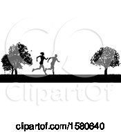 Clipart Of A Black Silhouetted Fit Couple Running In A Park Royalty Free Vector Illustration