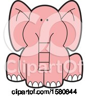 Clipart Of A Cartoon Cute Sitting Pink Elephant Royalty Free Vector Illustration by Johnny Sajem