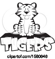 Clipart Of A Black And White Sitting Tiger On Text Royalty Free Vector Illustration by Johnny Sajem