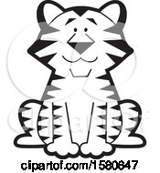 Clipart Of A Black And White Cute Sitting Tiger Royalty Free Vector Illustration
