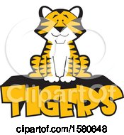Clipart Of A Sitting Tiger On Text Royalty Free Vector Illustration