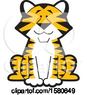 Clipart Of A Cute Sitting Tiger Royalty Free Vector Illustration