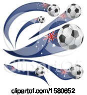 Clipart Of 3d Soccer Balls And Australian Flags Royalty Free Vector Illustration