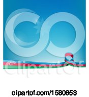 Clipart Of An Azerbaijani Ribbon Flag Over A Blue And White Background Royalty Free Vector Illustration