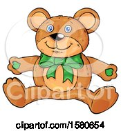 Clipart Of A Teddy Bear With A Green Bow Royalty Free Vector Illustration