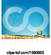 Poster, Art Print Of Ethiopian Ribbon Flag Over A Blue And White Background