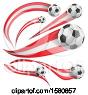 Clipart Of 3d Soccer Balls And Peruvian Flags Royalty Free Vector Illustration