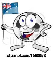 Clipart Of A Soccer Ball Mascot Holding An Australian Flag Royalty Free Vector Illustration