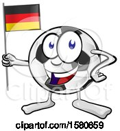 Soccer Ball Mascot Holding A German Flag