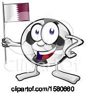Clipart Of A Soccer Ball Mascot Holding A Quatar Flag Royalty Free Vector Illustration