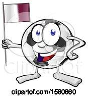 Poster, Art Print Of Soccer Ball Mascot Holding A Quatar Flag