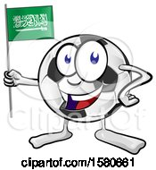 Soccer Ball Mascot Holding A Saudi Arabian Flag