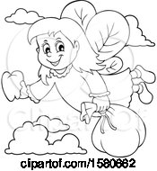 Lineart Tooth Fairy Flying
