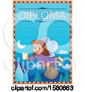 Clipart Of A Tooth Fairy Flying On A Diploma Royalty Free Vector Illustration
