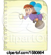 Clipart Of A Tooth Fairy Flying On Ruled Paper Royalty Free Vector Illustration by visekart