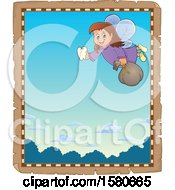 Clipart Of A Parchment Border Of A Tooth Fairy Flying Royalty Free Vector Illustration
