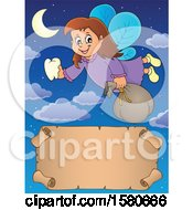 Clipart Of A Tooth Fairy Flying Over A Scroll Banner Royalty Free Vector Illustration