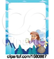 Clipart Of A Border Of A Tooth Fairy Flying Royalty Free Vector Illustration