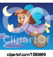 Clipart Of A Tooth Fairy Flying In A Night Sky With Clouds Royalty Free Vector Illustration