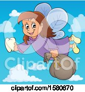 Clipart Of A Tooth Fairy Flying In A Blue Sky With Clouds Royalty Free Vector Illustration