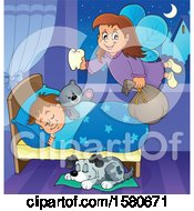 Poster, Art Print Of Tooth Fairy Flying Over A Dog And Sleeping Boy