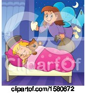 Clipart Of A Tooth Fairy Flying Over A Sleeping Girl Royalty Free Vector Illustration by visekart