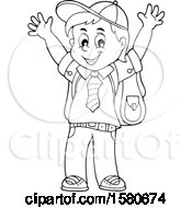 Clipart Of A Lineart Cheering School Boy Royalty Free Vector Illustration