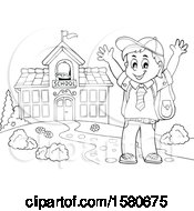 Clipart Of A Lineart Cheering School Boy By A Building Royalty Free Vector Illustration