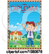 Clipart Of A Cheering School Boy On A Diploma Royalty Free Vector Illustration