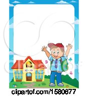 Clipart Of A Border Of A Cheering School Boy Outside A Building Royalty Free Vector Illustration