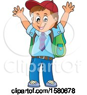 Clipart Of A Cheering School Boy Royalty Free Vector Illustration