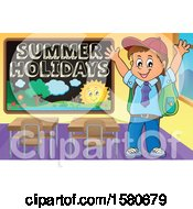 Clipart Of A Cheering School Boy By A Summer Holidays Blackboard Royalty Free Vector Illustration