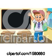 Clipart Of A Cheering School Boy By A Blackboard Royalty Free Vector Illustration