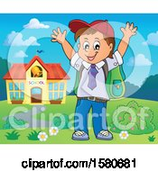 Clipart Of A Cheering School Boy Outside A Building Royalty Free Vector Illustration
